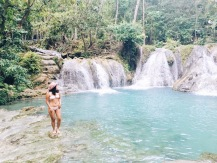 girl, unspotted waterfalls