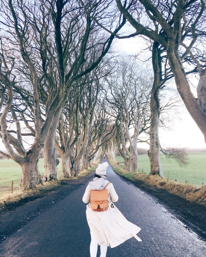northern ireland the dark hedges girl unspotted