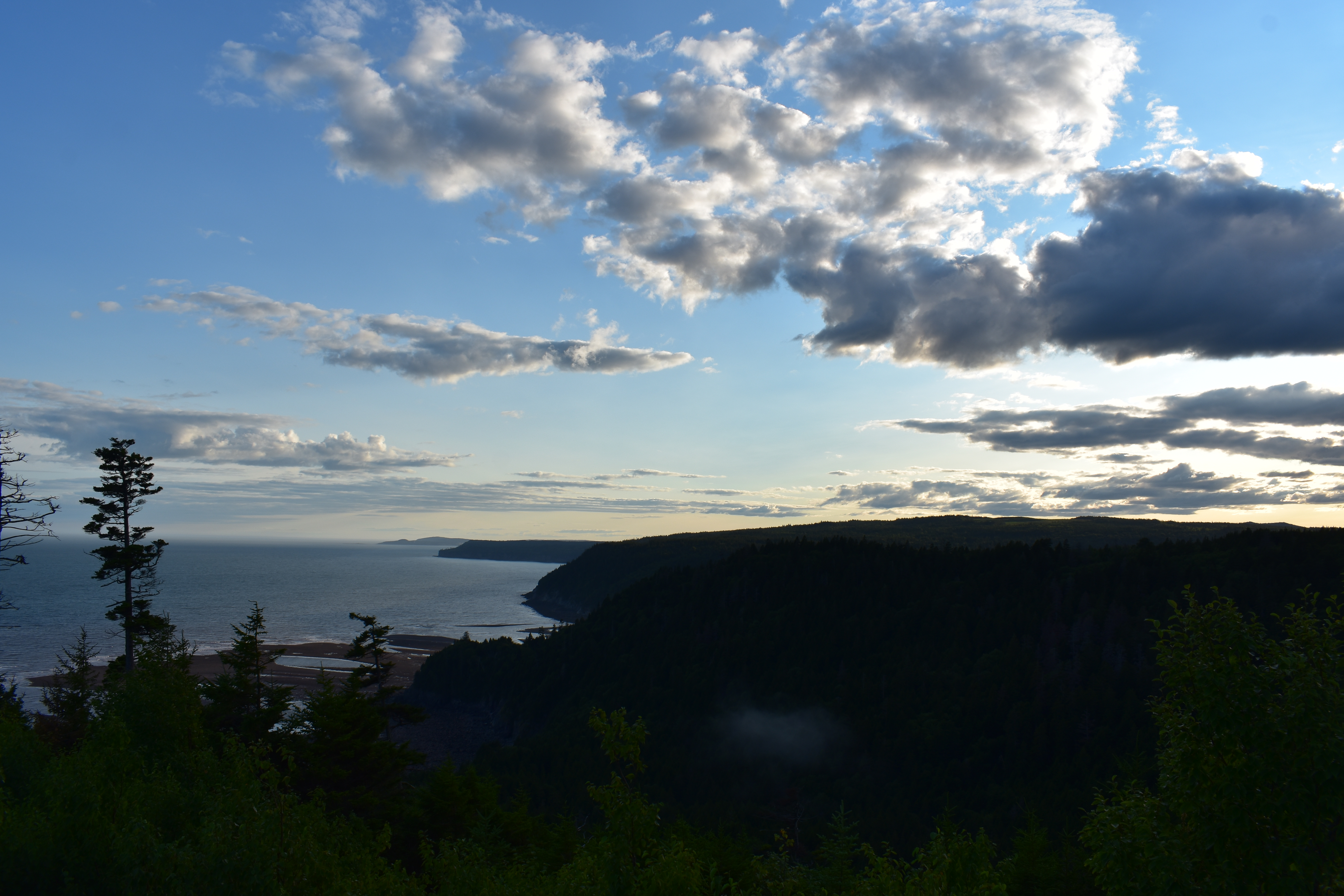 View of the Bay of Fundy at sunset